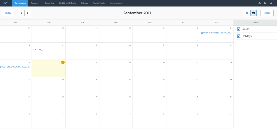 Released Constant ContactS Marketing Calendar