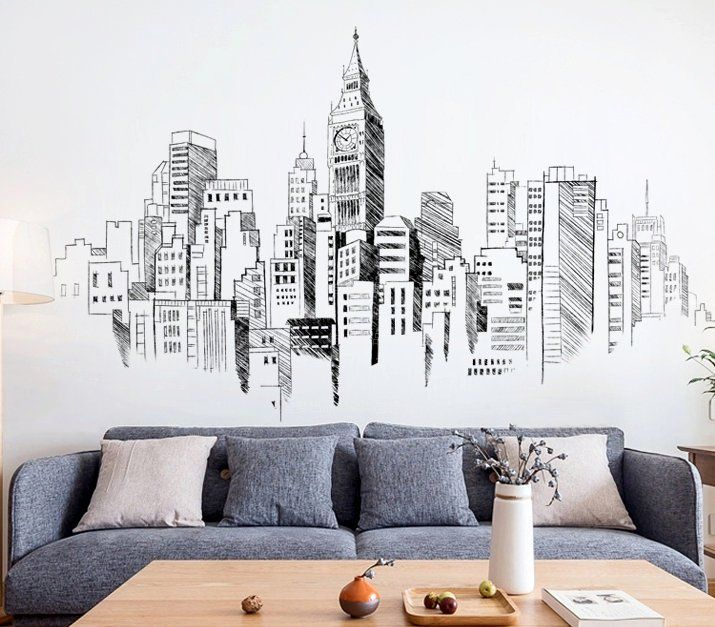 Large Metropolitan Sketch Drawing Pattern Vinyl Wall Sticker Wall Decal Art Decor Sticker Black And White Wall Decals Living Room Decal Wall Art Wall Patterns