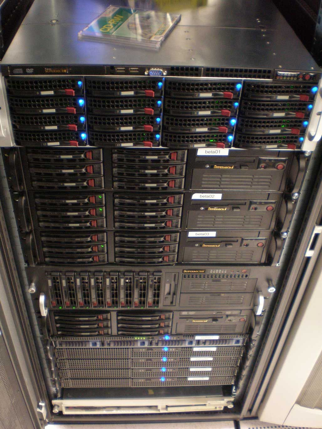 A rack of SuperMicro servers that power the popular