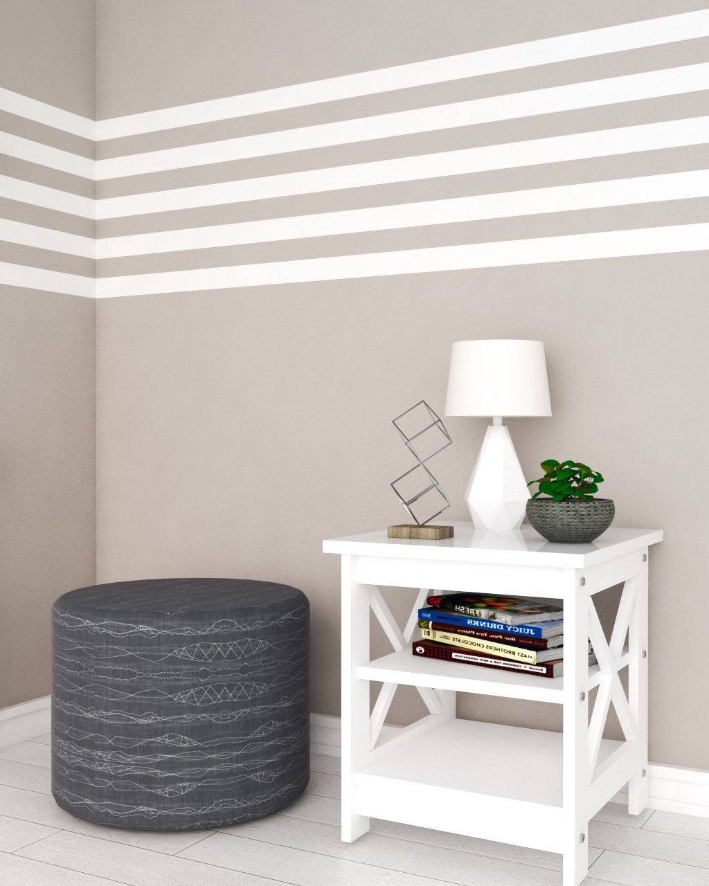 Brown and White Simple Line Wall Paint Ideas  Bedroom wall paint