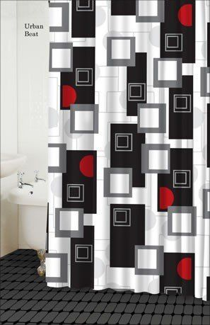 Marvelous Urban Beat Shower Curtain (Black/White/Red/Grey) By Famous Home Amazing Design