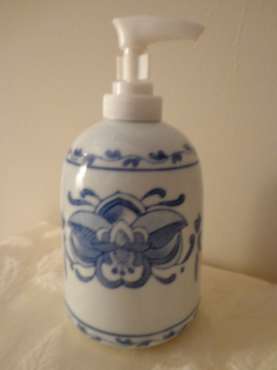 Blue White Hand Painted Porcelain Soap Dispenser Blue White Etsy Hand Painted Porcelain Ceramic Soap Dispenser Porcelain Painting