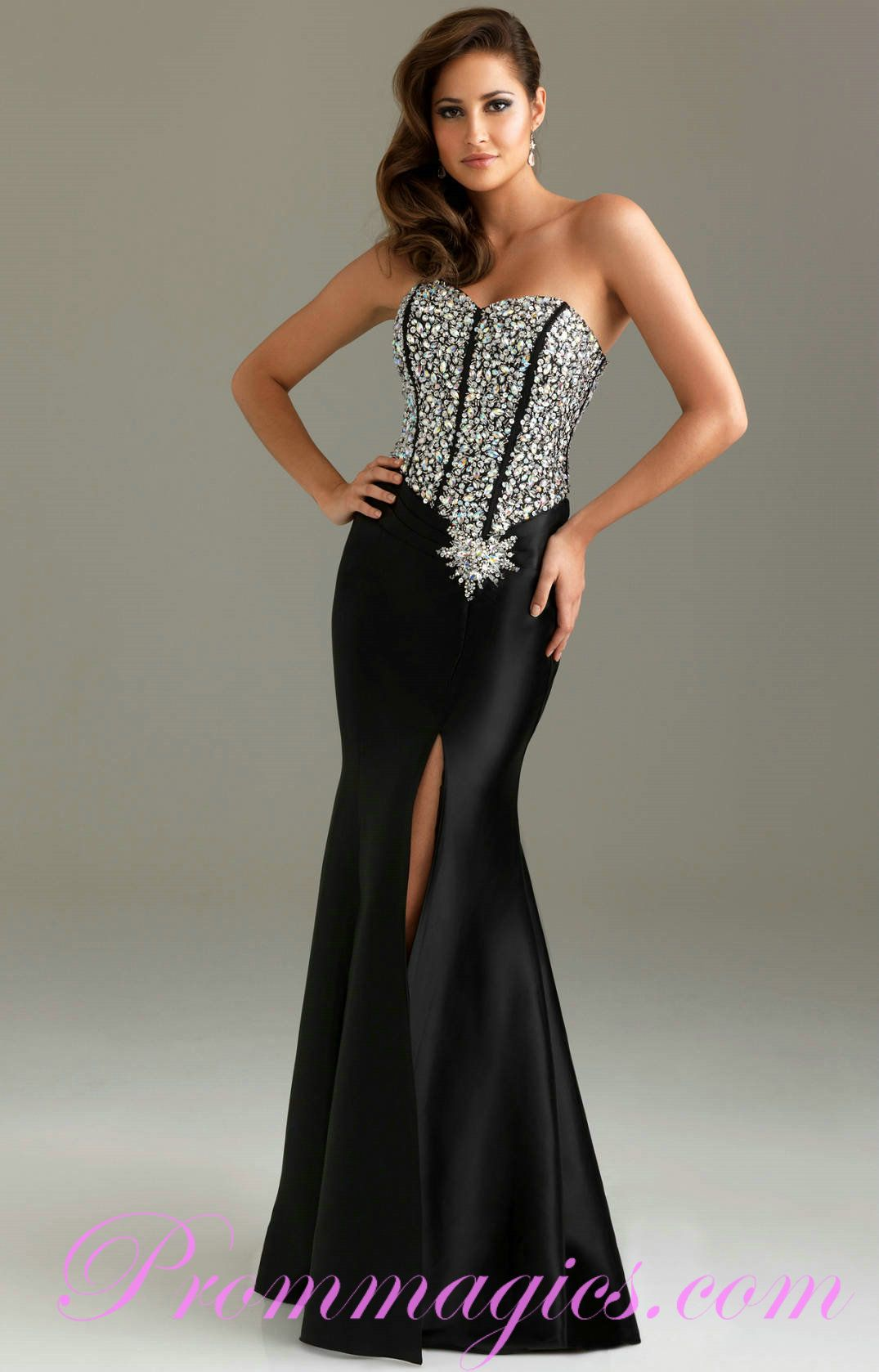 Slim handmade beading sweetheart elastic satin elegant prom dress