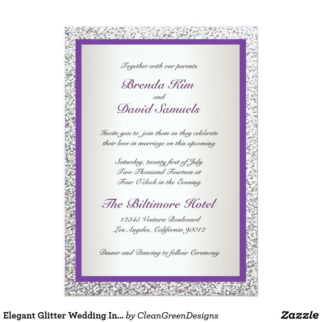 Elegant Glitter Wedding Invitation | Elegant Wedding Invitations ...