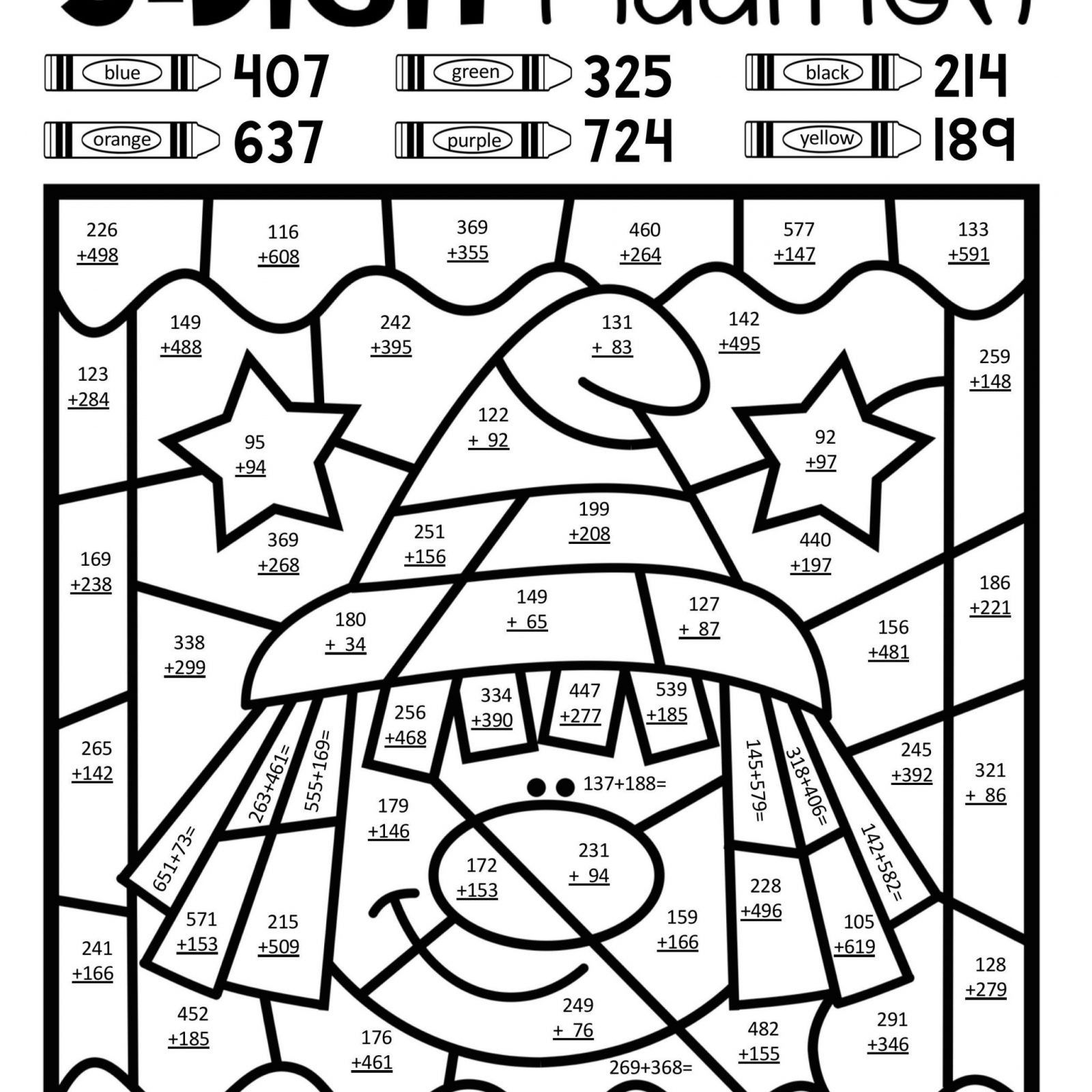 3 Free Math Worksheets Second Grade 2 Addition Add 3 Single Digits Missing  Number di…   Addition coloring worksheet [ 1600 x 1600 Pixel ]