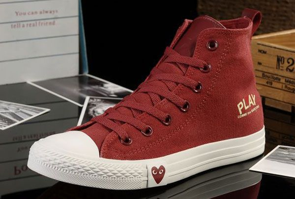 9fa7983a2bf3  converse Edison Loving Heart Limited Edition Converse Play Comme Des  Garcons All Star Chucks High Tops Red Canvas Sneakers