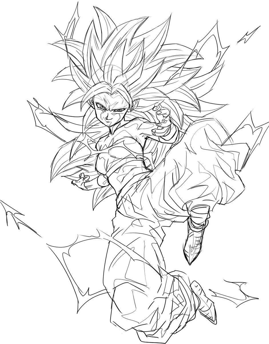 Ssj3 Caulifla Caulifla Y Kale Bocetos Anime Cosas De Dibujo Y
