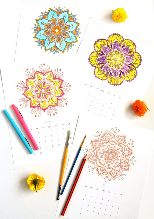 Free Printables12 Gorgeous Mandala Coloring Pages Plus A Set Of Color Your Own Mandalas 2016 Calendar And 5 Secrets On How To Paint Beautiful