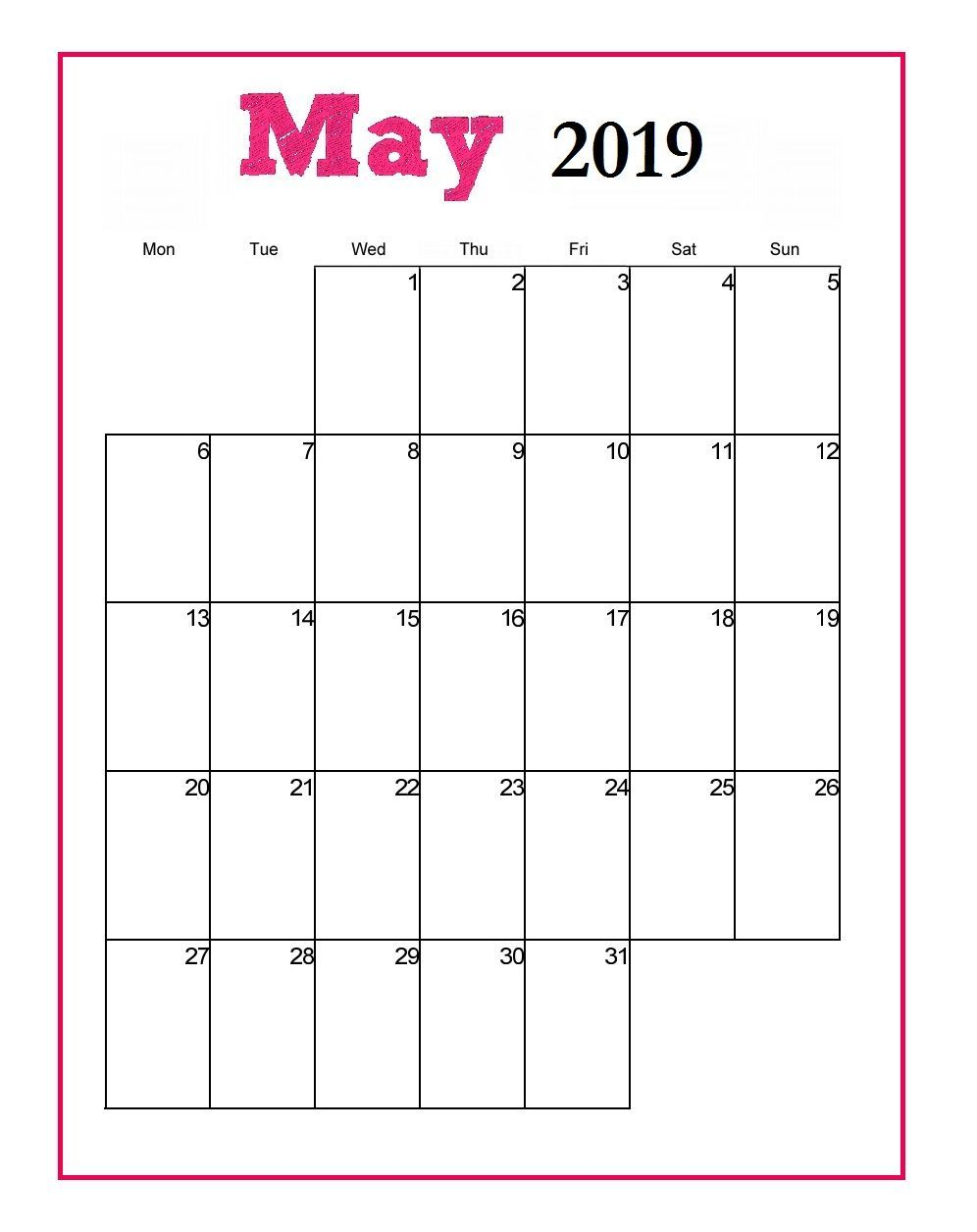 Editable May 2020 Calendar To Print Pdf Word Blank Blank Templates