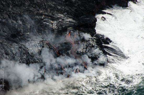 Lava meets the ocean, Kilauea Volcano (Big Island, Hawaii): http://transplantedtatar.com/2013/09/01/flying-over-lava/
