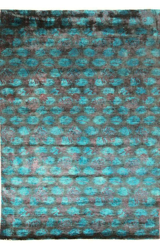 Vendimia Rugs Overdyed Floral Dots Teal Rug Rugs Usa