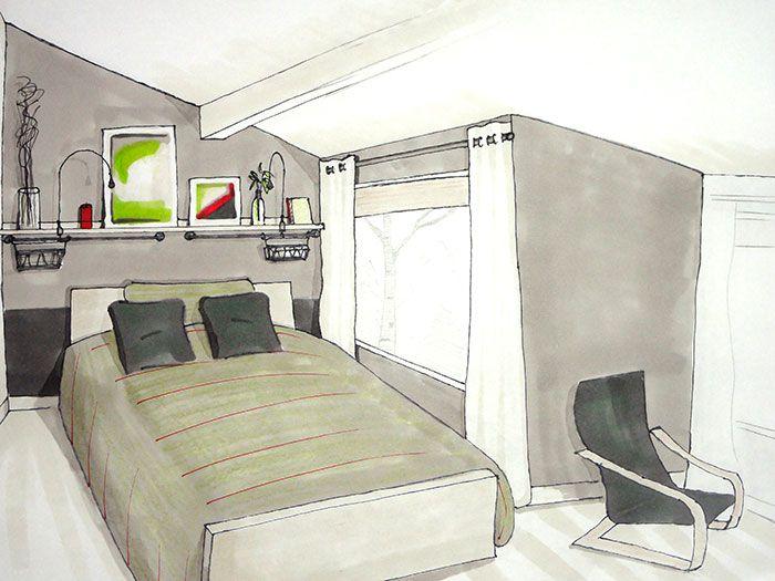 Adult bedroom int rieurs de chambre chambre adulte et for Design d interieur dessin