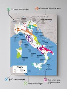 High quality detailed and accurate map of major wine appellations high quality detailed and accurate map of major wine appellations in italy available as a posterprint designed by experts for display or education gumiabroncs Choice Image