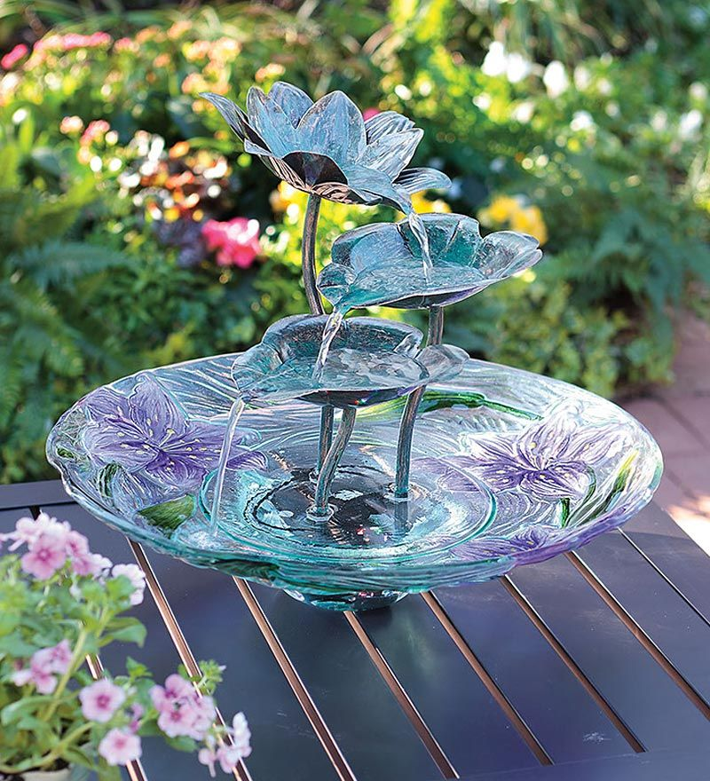 This Lighted Glass And Metal Lotus Flower Self Contained Fountain Is A  Beauty Even When