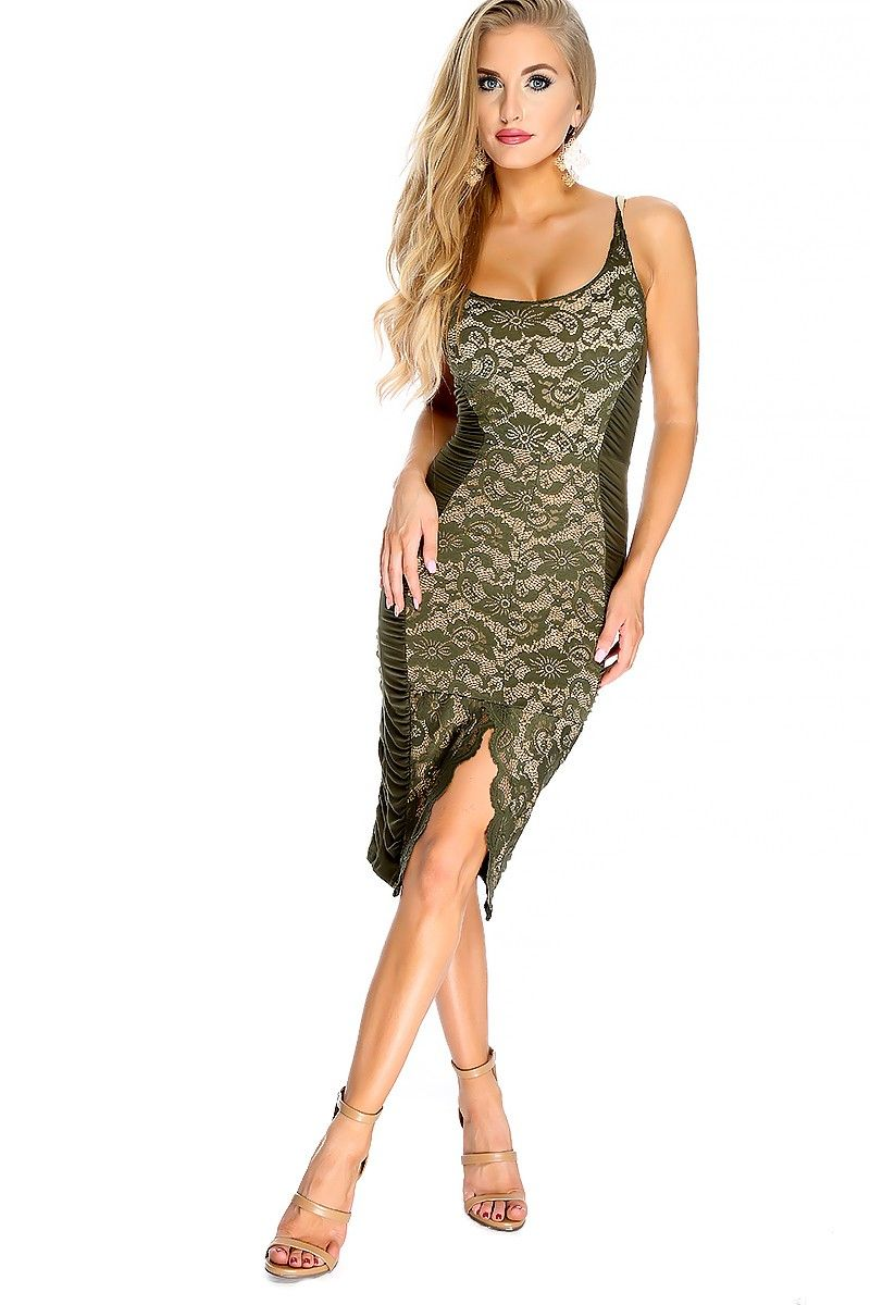 This stylish and eye catching dress is the perfect go to for a date night out! Featuring; embroidered crochet, sleeveless, two tone, front slit, ruched, round neckline. Followed by a fitted wear. 92% Nylon 8% Spandex