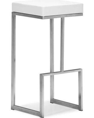 Darwen 30 Backless Bar Stool Stainless Steel White (