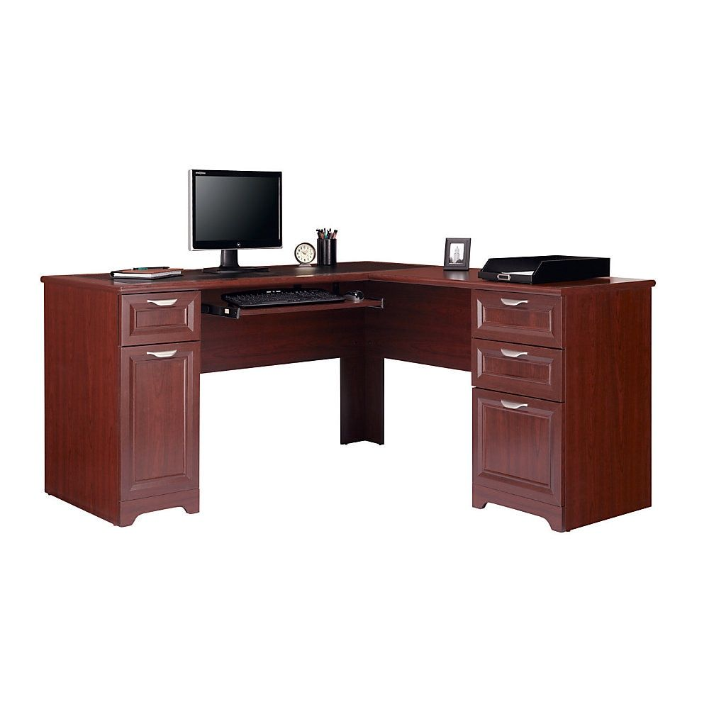 "Realspace® Magellan 59""W L-Shaped Desk, Classic Cherry ..."