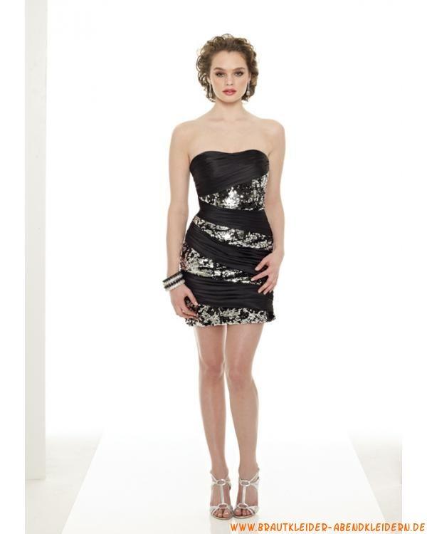 Schwazres elegantes kurzes Abendkleid aus Stretchsatin mit Perlen