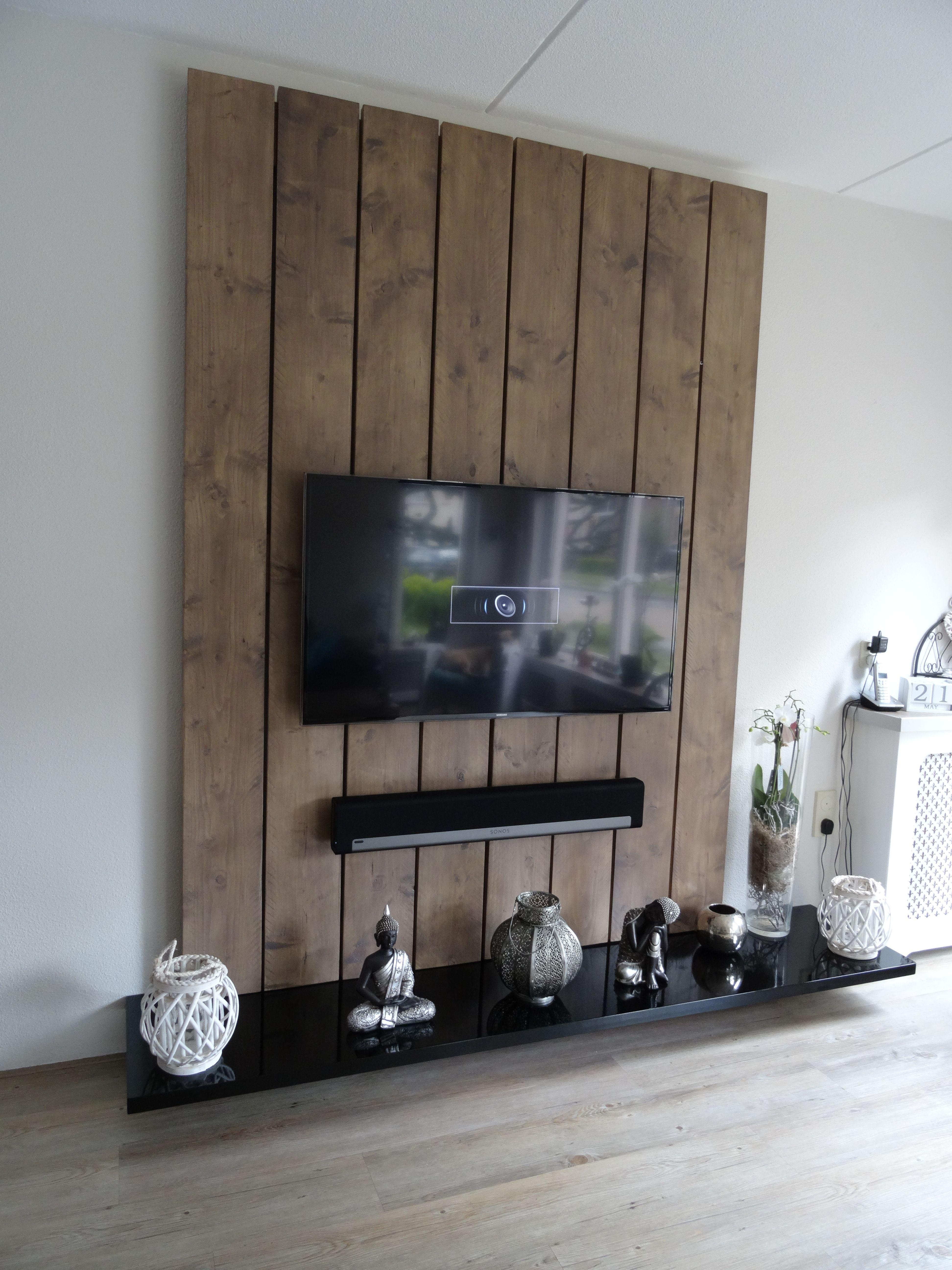 Tv Wandmeubel Gemaakt Van Steigerhout En Mdf De Steigerplanken Zijn Diy Wiring Lampu Rumah Glad Geschuurd In