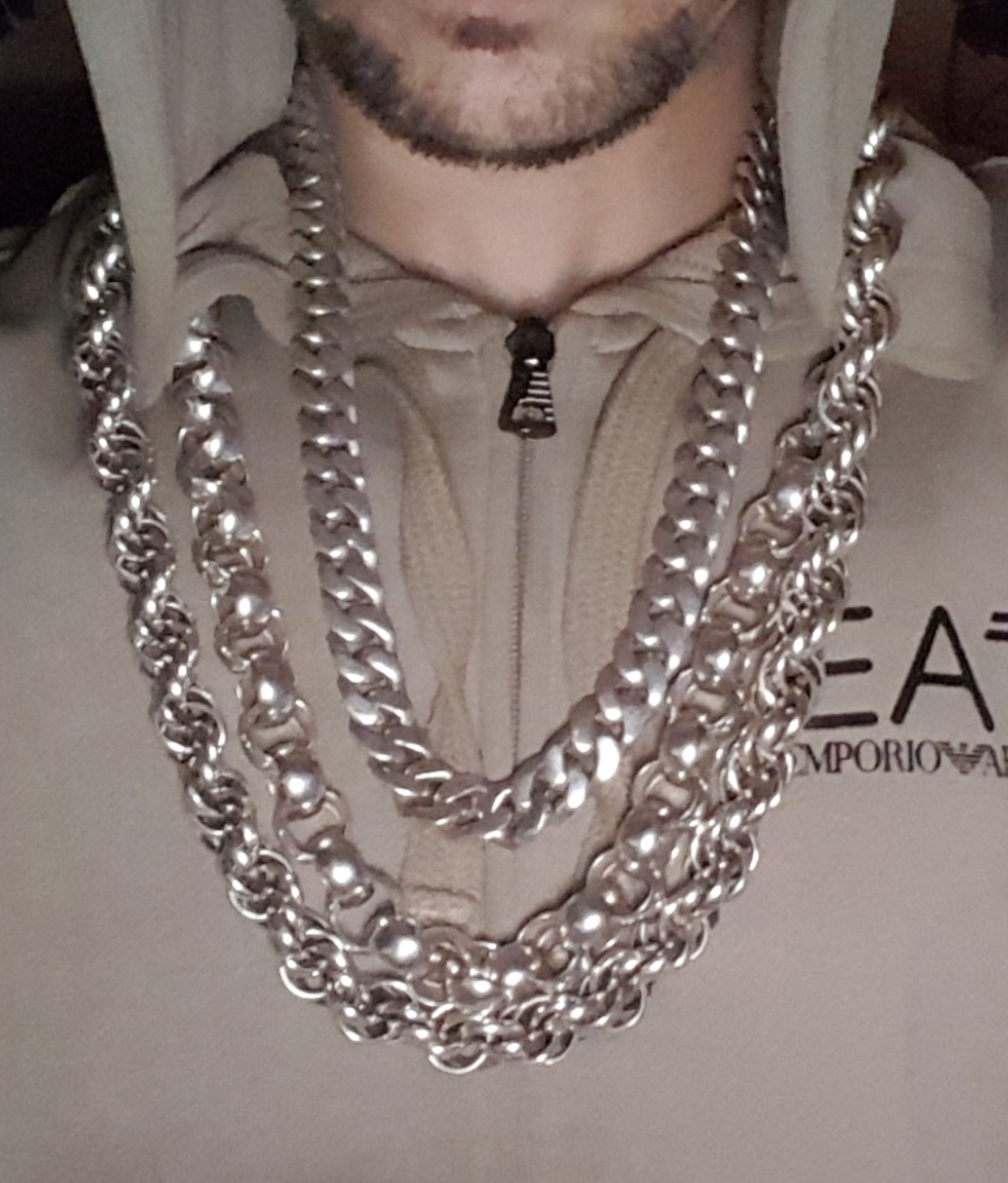Phil From The Uk Wearing His 30 Big Silver Rope Chain Necklace Silver Chain Necklace Thick Silver Necklace Silver Chain For Men