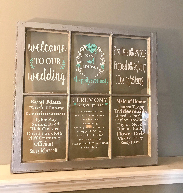 Wedding Programs Wedding Program Sign 6 Pane Wood Window Rustic Wedding Picture Frame Wedding Window Wedding Program Wedding Program Sign Wedding Window Wedding Picture Frames