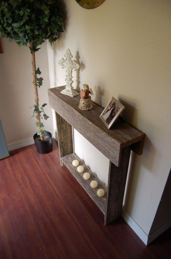 thin console table entry way table reclaimed cedar skinny wall table cottage decor 30 x