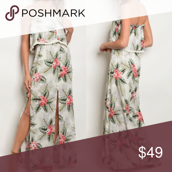 1598e3ebe4ac White Tropical Floral Print Strapless Maxi Dress Tube top smock waist floral  print slit hem maxi dress. 100% rayon. Approximate measurements taken from  size ...