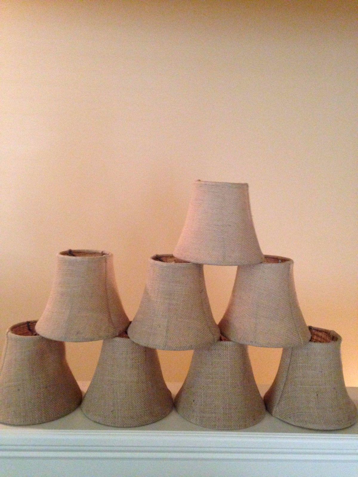 Lamp shades 20708 pottery barn set of 8 burlap chandelier shades lamp shades 20708 pottery barn set of 8 burlap chandelier shades natural new arubaitofo Choice Image