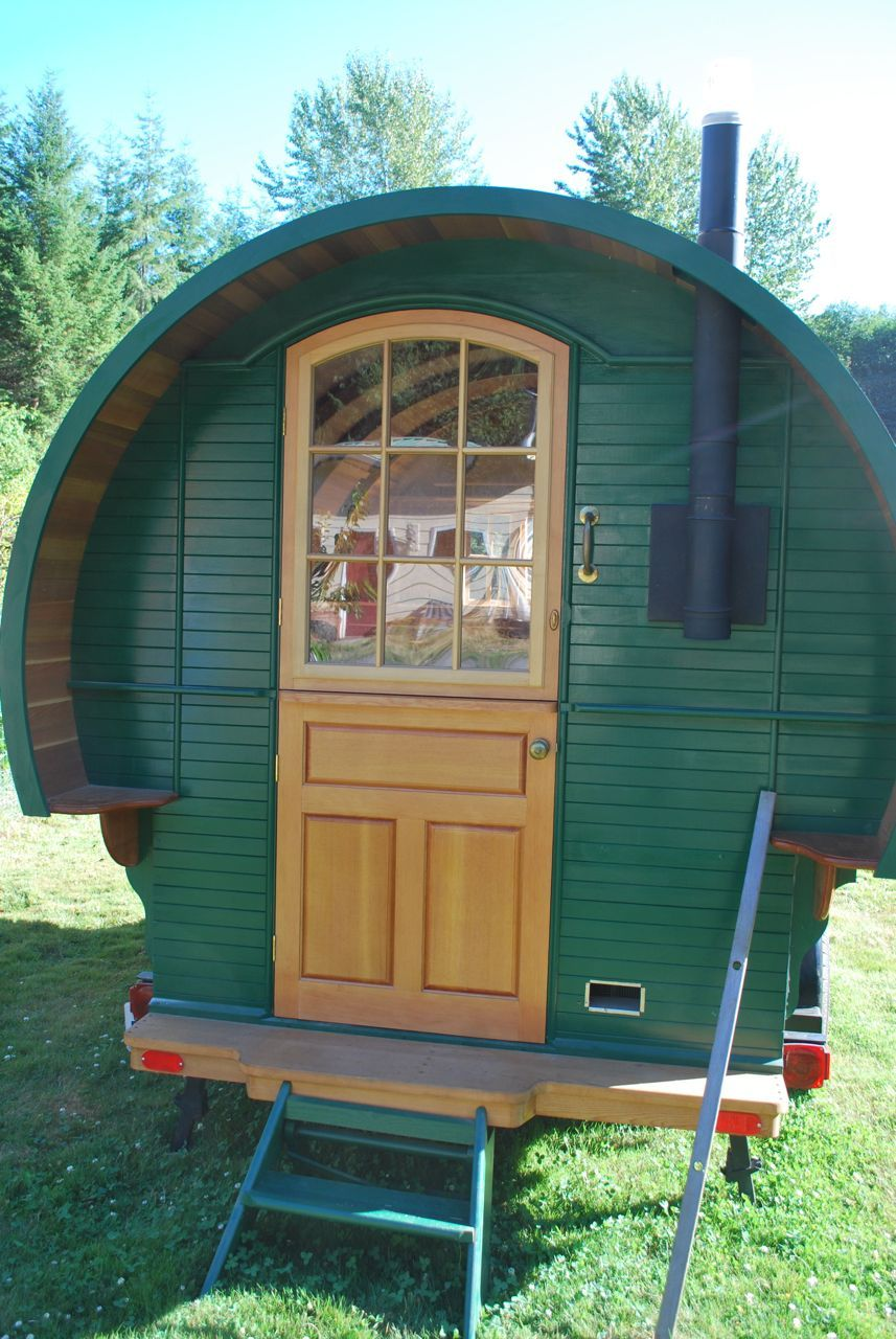 Micks Bowtop Progress Tiny house trailer Vardo Garden hut