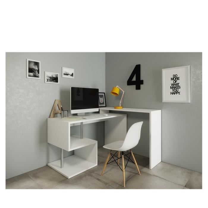 160 bureau zig bureau angle 140 130x60x88 cm blanc laqu. Black Bedroom Furniture Sets. Home Design Ideas