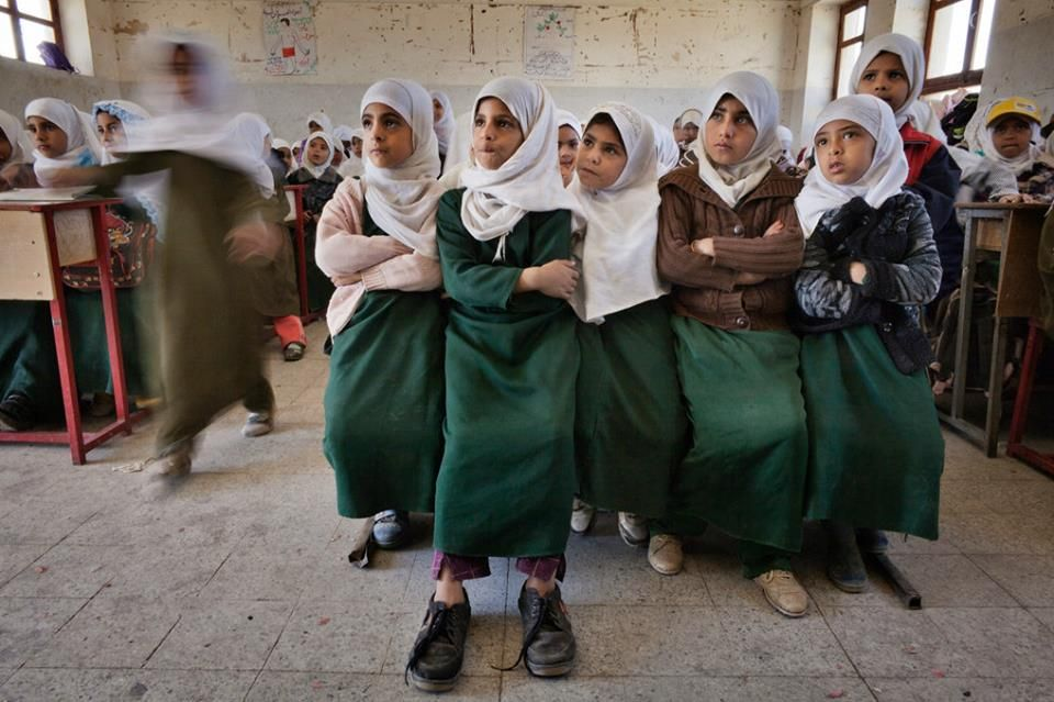 Students at an elementary school in Sanaa, Yemen. The United Nations Children's Fund, or Unicef, says access to education is one of the biggest challenges facing Yemeni children, especially girls. Nearly half of primary-school-age girls do not go to school. Photo by Laura Boushnak