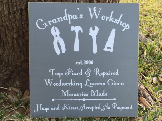 Garage Sign ~ Grandpa's Workshop Sign ~ Personalized Grandfather Gift ~ Tool Sign ~ Christmas Gifts For Grandpa ~ Custom Wood Sign #grandpagifts