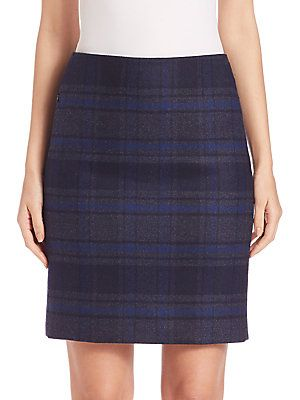 Akris Wool Double-Face Plaid Pencil Skirt - Bluejay/Starling
