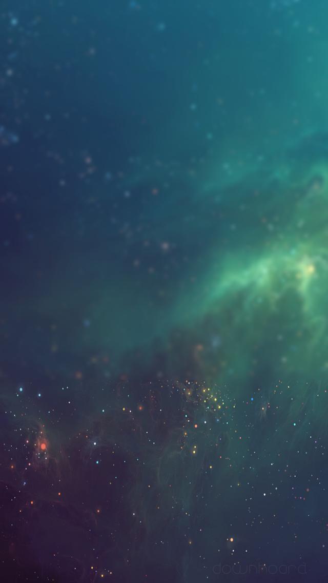 Blurred Deep Space Green Nebulae iPhone 5 Wallpaper
