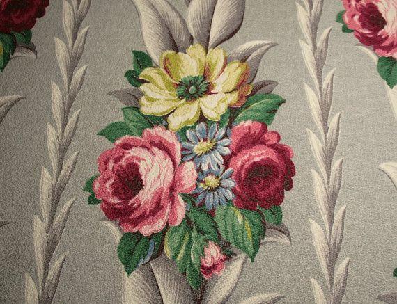 Stunning Dove Gray Glen Court Vintage Barkcloth  by ChenilleBliss, $44.50