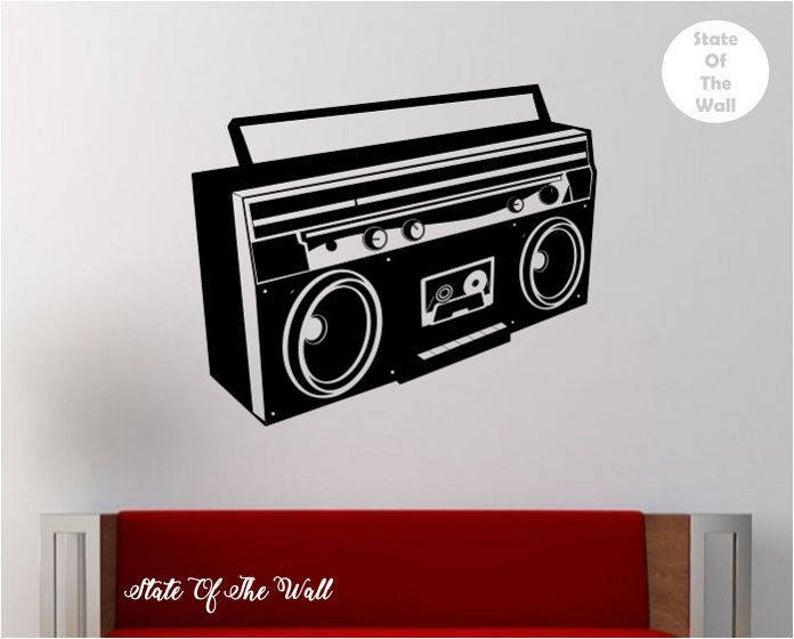 Boombox Wall Decal Vinyl Sticker Art Decor Bedroom Design Etsy Sticker Art Vinyl Wall Decals Music Wall Decal