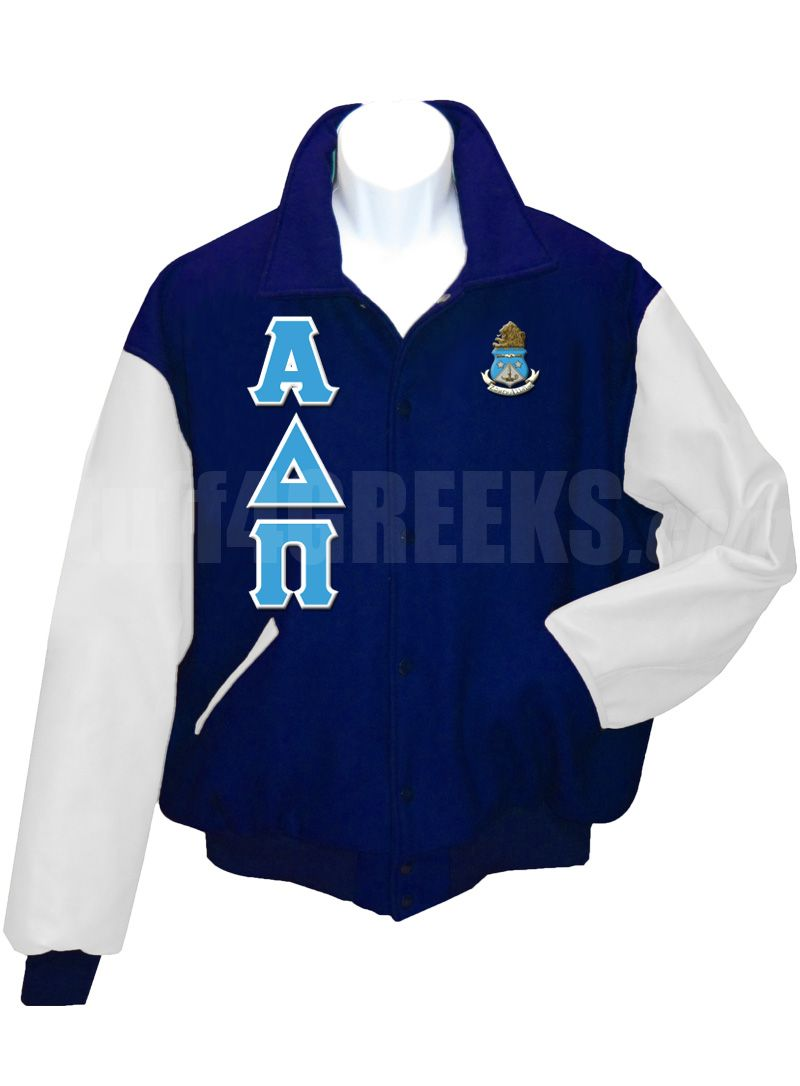 cd2281a2db Navy blue Alpha Delta Pi Letterman Varsity Jacket with white sleeves ...