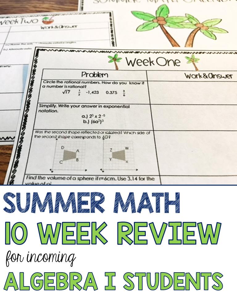 Algebra Summer Math Calendar: A 10 Week Math Review Packet