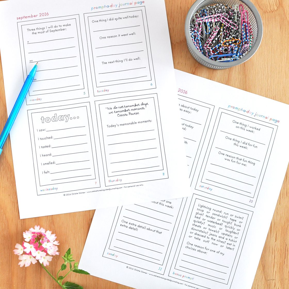 Prompt A Day Printable Journal Pages From Adventures In Guided Journaling
