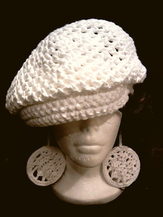 free crochet newsboy hat patterns for women | White Newsboy hat with ...