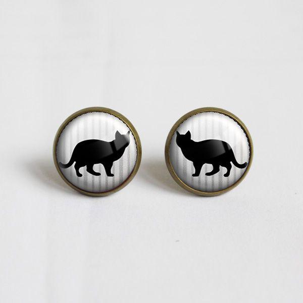 Black cat Glass Earrings