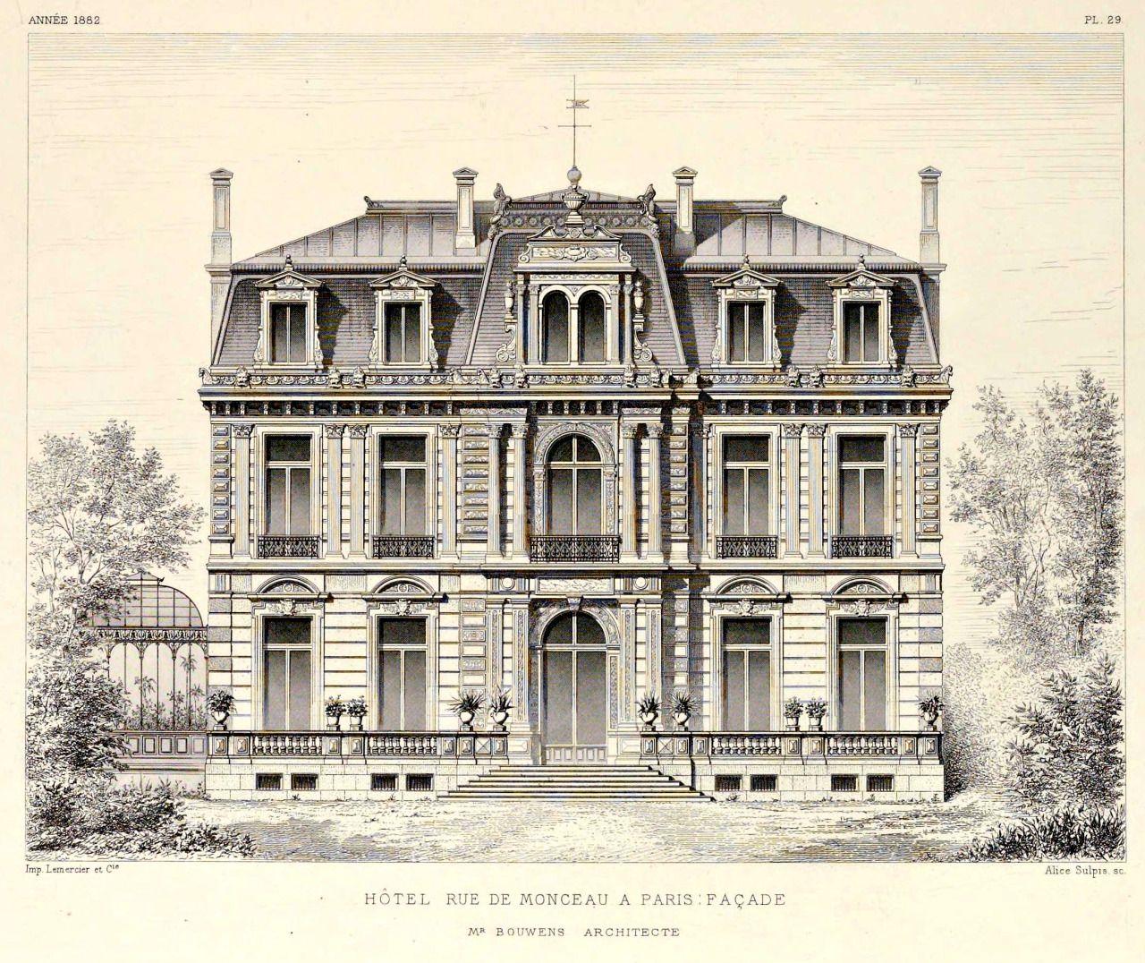Elevation of a hotel particulier near parc monceau paris for Architecture classique