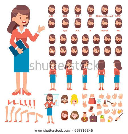 Front side back view animated character Business woman character creation set with various