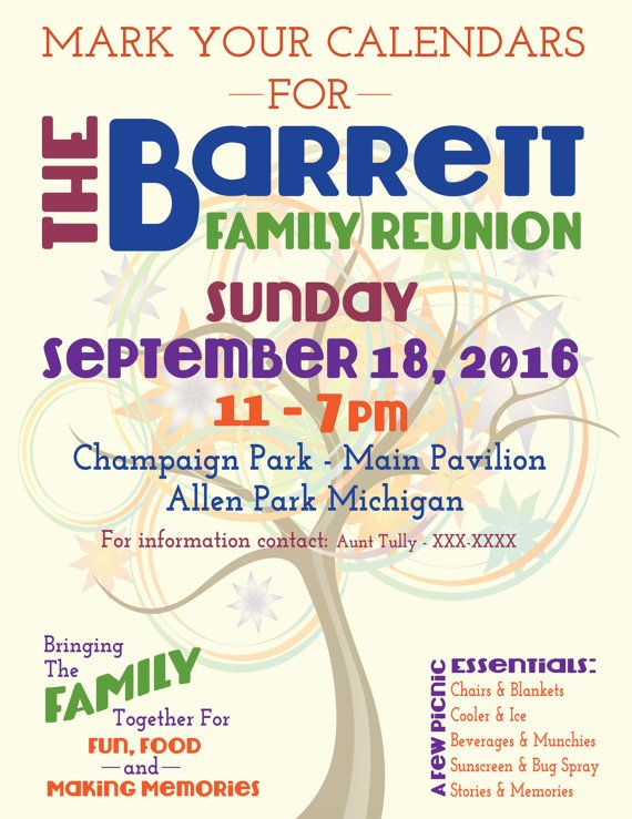 Family Reunion Flyer, Save the Date, Tree of Life | Pinterest ...