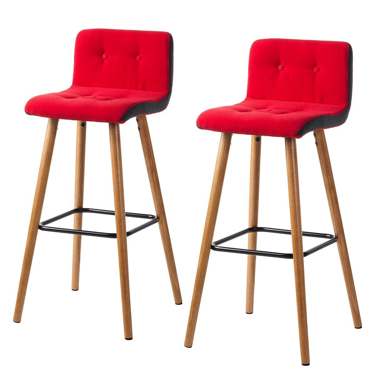 Barhocker Troon (2er-Set) - Eiche massiv / Webstoff - Rot ...
