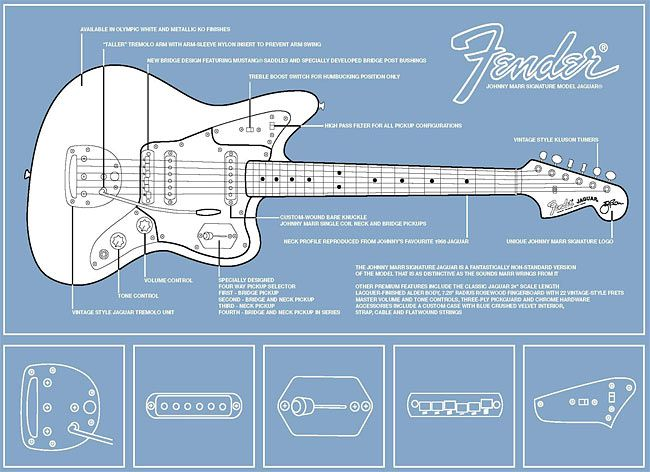 Diagram of Johnny Marr\'s signature Fender Jaguar | Things that are ...