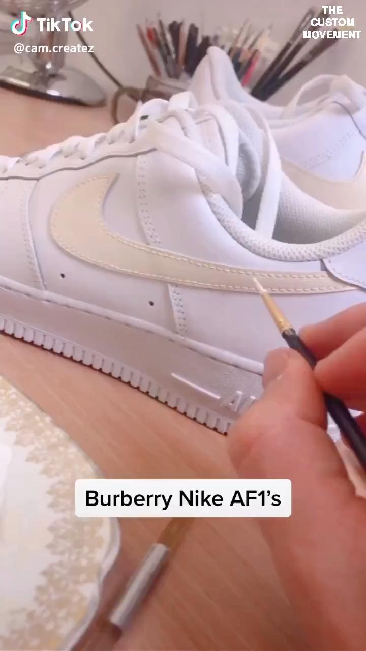 Custom Sneaker Art Customization Video By Tik Tok Artists Custom Nike Vans Adidas Air Force One Custom Shoes Diy Custom Nike Shoes Nike Air Shoes