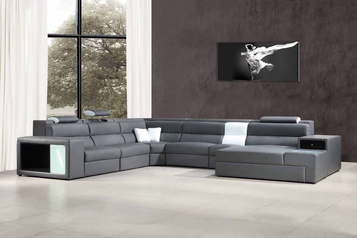 Divani Casa Polaris - Contemporary Bonded Leather Sectional ...