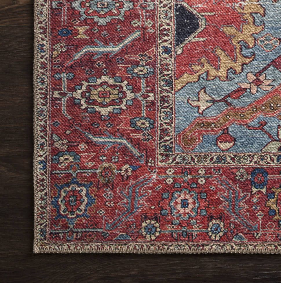 Raul Persian Inspired Blue Red Area Rug Rugs On Carpet Carpet