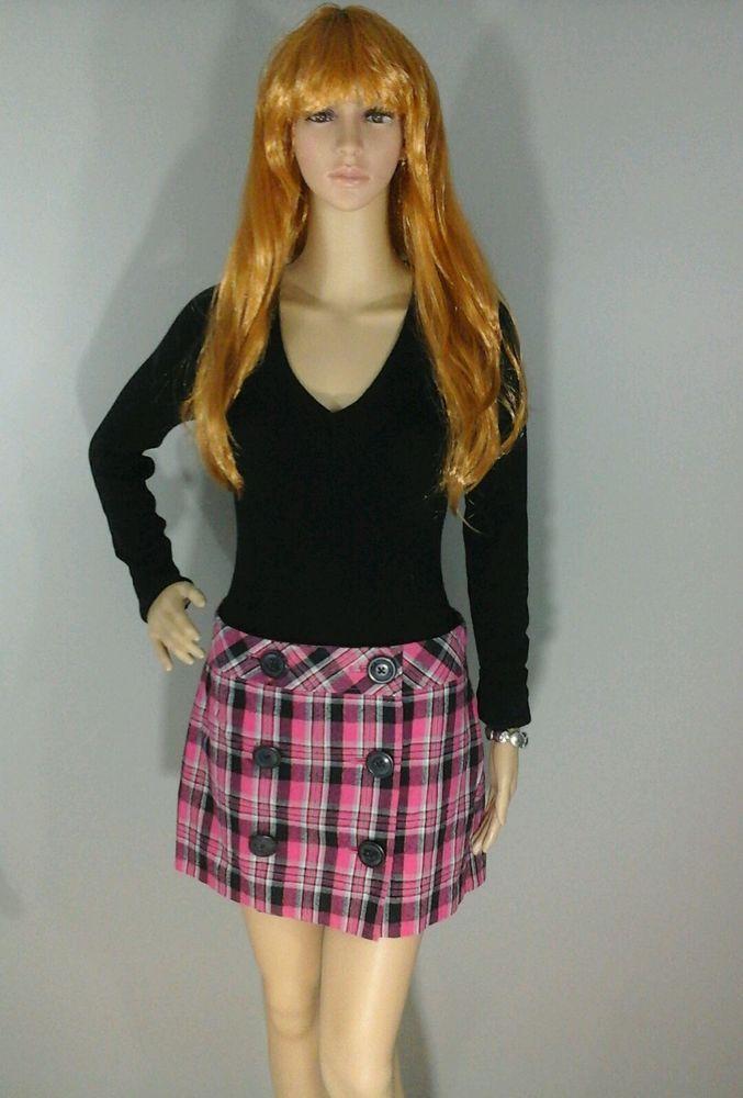 New Express Women's Mini Skirt Plaid Buttons Thick Cotton Black Pink Size 6 #Express #Mini